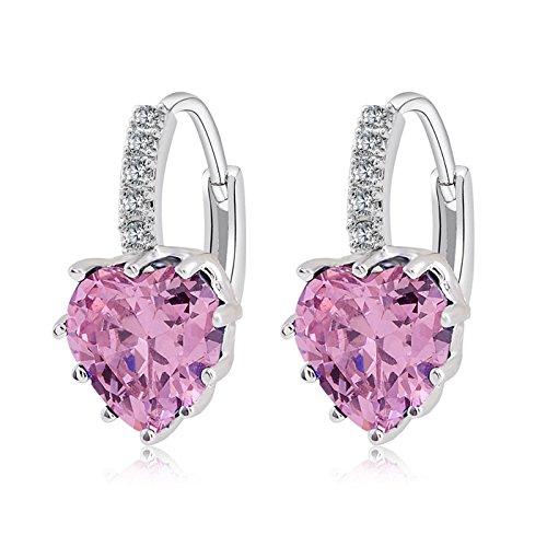 TININNA Vintage Cuore Forma lucente Cristallo Strass Orecchini a cerchio per donne gioielli e accessori Orecchini Argento Rosa