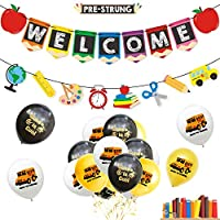 caicainiu Back to school banner apple wreath banner back to school decoration balloon school decoration first day school classroom party decoration
