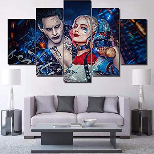 Malerei drucken Leinwand Wandbilder 5 Stücke Suicide Squad Joker mit Harley Quinn Bildplakat Wohnzimmer Wohnkultur,B,30×50×2+30×70×2+30×80×1 ()