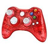 Xbox 360 wireless controller,Uniway XC03 transparent Xbox controller wireless PC Gamepad with LED-Red