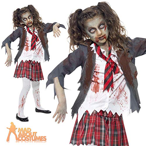 B-Creative Deluxe Kind Zombie School Girl Kostüm Mädchen Halloween Horror Fancy Kleid Outfit Kids UK (13-14 - Scary School Girl Kostüm