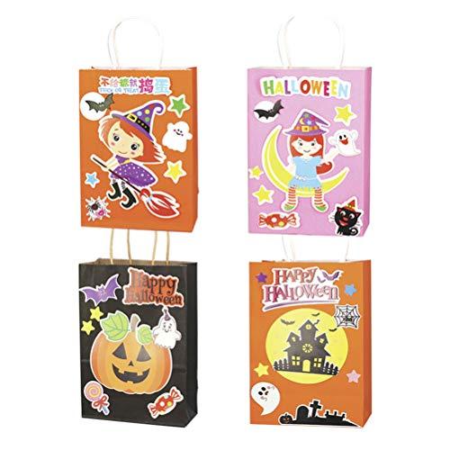 Amosfun 12pcs Halloween Festlichkeit Beutel DIY Süßigkeit Beutel Papier Beutel für Kindergeburtstags Party Dekoration