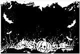 Wallario Acrylglasbild Halloween - Kürbisse und Fledermäuse in schwarz-weiß, Comic Stil - 60 x 90 cm in Premium-Qualität: Brillante Farben, freischwebende Optik