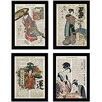 Pack de Cuatro láminas Vintage japonesas con definiciones lenguaje japones, comunicacion, emociones y Libertad Tamaño A4 - con Marco Negro A4.