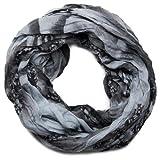 styleBREAKER Loop Schlauchschal in maritimen Muschelmuster, Crash and Crinkle, Tuch 01018023, Farbe:Schwarz-Grau