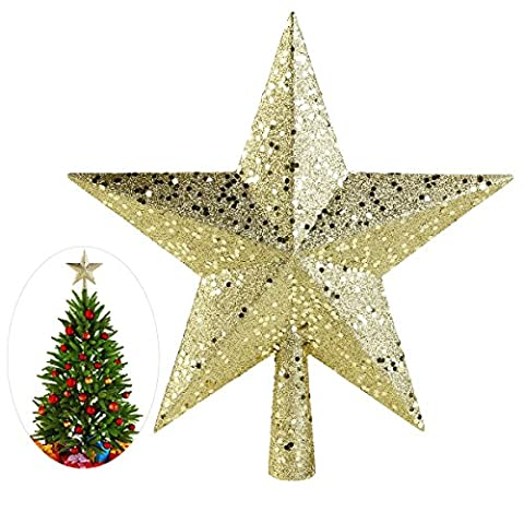 NICEXMAS Christmas Tree Toppers Star Treasures Glittered Decoration Ornament, 23