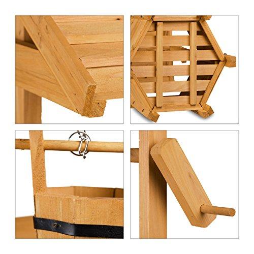 Relaxdays Dekobrunnen Garten Holz Rolle Eimer Hxbxt 82 X 47 X 41