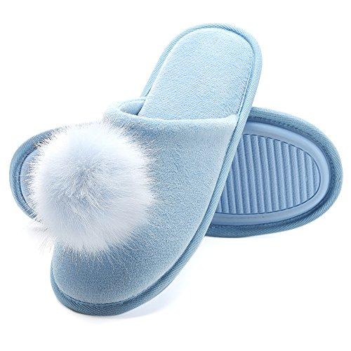 Harrms Pantofole da casa per Donna, Ultra-Leggero Confortevole e Antiscivolo, Ciabatte da Donna per casa Lavabile in Lavatrice, Celeste, EU 38-39 (Lunghezza 24-24.5CM)