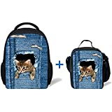 ThiKin Cute Cat Kids Kindergarten School Bag Backpack With Lunch Bag Lunch Box