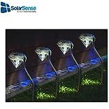 SolarSense - Set di 4lampade solari a forma di diamante, luci LED bianche da giardino, lanterne da giardino a energia solare, per cortili, vialetti, esterni