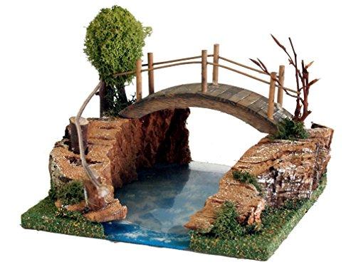 Bertoni mountain lago con ponte e uccelli, in legno, taglia unica