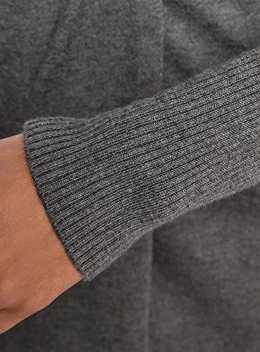 oodji Collection Damen Verschlussloser Cardigan mit Gürtel Grau (2500M)