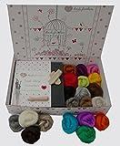 Heidifeathers® Needle Felting Kit with Natural and Merino Wool - Handle, Finger Guards, Eyes, Needles + Instructions
