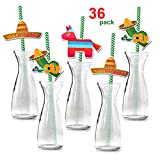 Howaf Mexican Party Paper Straw (36Pack), Mexican Fiesta Biodegradable Paper Drinking Straw Decoration for Mexican Theme Birthday Wedding Christmas All Occasions, Mexican Party Favor Supplies