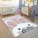 Paco Home Kinderteppich Kinderzimmer Konturenschnitt Niedlicher Hase In Creme Rosa, Grösse:160x230 cm