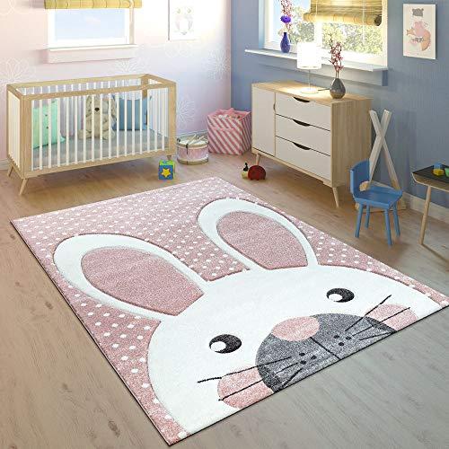 Freude Teppiche Rose (Paco Home Kinderteppich Kinderzimmer Konturenschnitt Niedlicher Hase In Creme Rosa, Grösse:120x170 cm)