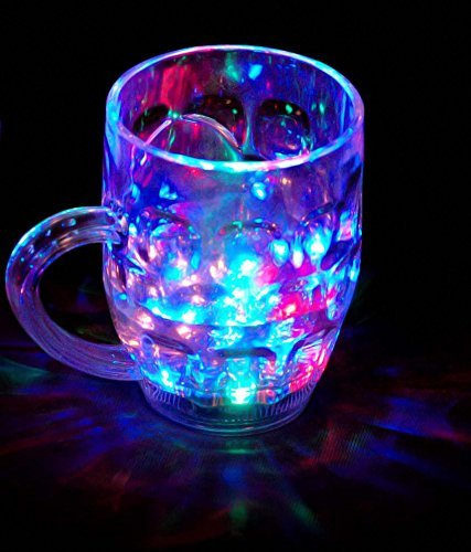 AllExtreme Rainbow Color Cup- Glass Beer Mug With Inductive Rainbow Color Disco LED 7 Colour Changing Liquid Activated Lights Multi Purpose Use Mug/Cup ,1 Unit ,Capacity-250ml-With Handle  available at amazon for Rs.250