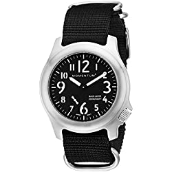 Momentum Base Layer Men's Quartz Watch with Black Dial Analogue Display and Black Nylon Strap 1M-SP76B7B