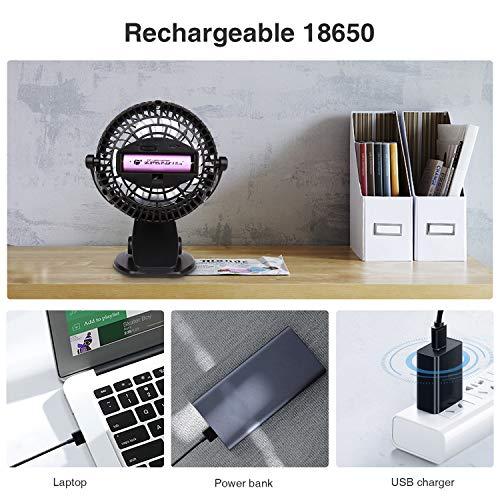 BRIGENIUS Baby Fan Battery Operated Cot Fan Small Quiet Stroller Fan Rechargeable Battery Powered Fan USB Mini Desk Fan for Buggy, Pushchairs, Home, Office, Outdoors, Travels