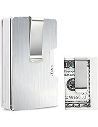 Kreditkartenetui Geldbörse mit Klammer Aluminium Kartenhalter RFID Schutz Geld Clip U-Form Design mit 2 Abnehmbar Geldklammern und 2 Elastischen Bändern Geldscheinklammer Silber-3 Jahre Garantie