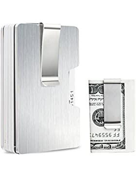 Mini Billetera Tarjetero, Dinero de Aluminio Billetera Clip con Bloqueo RFID, Cartera Hombre Slim Wallet Cartera...