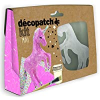 Decopatch–Papel maché (Mini Kit 19x 13,5x 4,5cm), diseño de Unicornio, marrón