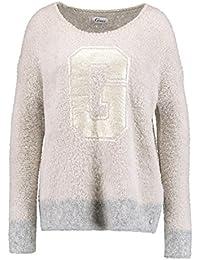 Grace Damen Pullover Strickpullover G Mit Golg-Print – beige grau bb2a5cef39
