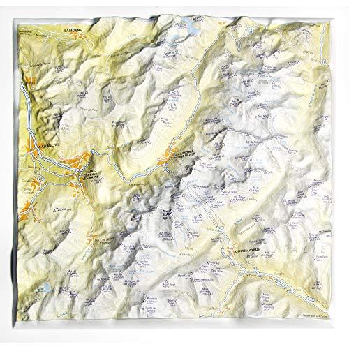 Mapa en relieve del Mont Blanc: Escala gráfica