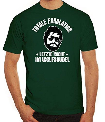 Junggesellenabschied JGA Gruppen Herren Männer T-Shirt Rundhals Totale Eskalation - Letzte Nacht im Wolfsrudel, Größe: S,Dunkelgrün