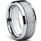 Ultimate Metals Co. Tungsten Carbide Men's Brushed Center Wedding Band Ring, Comfort Fit ,8 mm