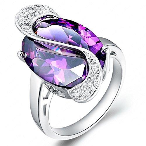 ergoldet Elegante Ovale Cut Amethyst Ring Simulated Kostüm R Frauen Größe ()