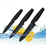 Cuchillos Cerámica Set 3 Piezas Cuchillos de Cocina Afilados Negros con...