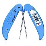 MANLEHOM Thermomètre Cuisine, Viande Thermomètre Digital avec Sonde pour Eau Chocolat Barbecue en Bleu