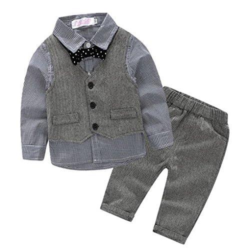 Babyanzug für Jungen,Evedaily 4 teilig Taufanzug Hemd + Fliege + Weste + Hose Bekleidungsset Baumwolle Festliche Babykleidung