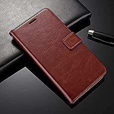 Vivo V5 Flip Cover Leather Case Premium Luxury Revel Touch Leather Cover for Vivo V5/Vivo V5s v5 s Brown by LR [Exclusive on Amazon]