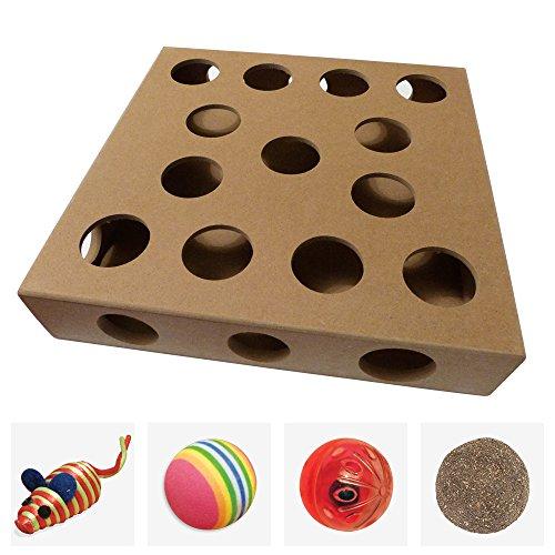 Einzigartiges Design - Interaktives Katzenspielzeug Box Durch Smitten Kitten - 4 Individuelle Katzenspielzeuge zum Verstecken Inklusive - 3 Kugeln und 1 Maus - Großes Geschenk Für Irgendeine Katze