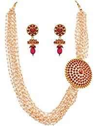 JFL - Traditional Ethnic Temple Laxmi Goddess One Gram Gold Plated Designer Long Necklace Set For Women And Girls