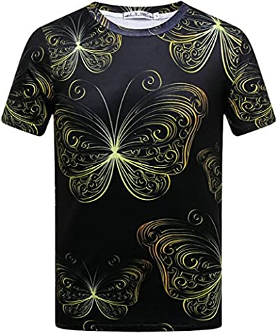 Pretty321 Men's 3D Vintage Floral Pattern Black Casual T-Shirt Collection (homme:FR 50 (Ignore Asia Tag), Butterfly Pattern)