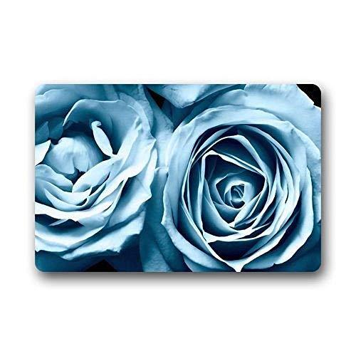 ghkfgkfgk Creative Com Table Style Door Mat Beautiful Light Blue Rose Flower Doormat Size Doormat Floor Mat Indoor Outdoor Decorate Your Home