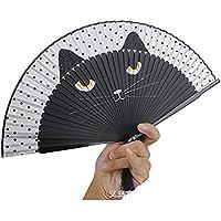 Silk Folding Fan Kreative Cartoon Handbemalte Chinchilla Muster Fan Weibliche Falten Hand Fan mit Fringe Cat Print 21 cm Blau