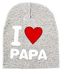 Idea Regalo - Cappello per Bambini - Neonati - Berretto - Scritta - I Love papà Dad - Bambino - Bambina - Unisex - Grigio - Idea Regalo Natale e Compleanno