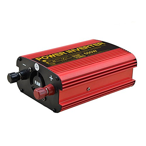 BQ Convertisseur @ Power Inverter DC 12V à 220V AC Convertisseur de voiture avec adaptateur allume-cigare 500W (Rouge)