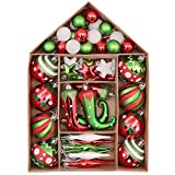 Victor's Workshop 70Pcs Bolas de Navidad, Adornos de Navidad para Arbol Tema Elfo Setl, Decoración de Bolas Navideños Plástico de Rojo Blanco Verde, Regalos de Colgantes de Navidad (Deleitoso)