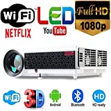 MYRA LED96A Plus LED Projector For Home / Office / School Android, Wi-Fi, Bluetooth, HD 1200*800, 3500 Lumens Full HD Play 1080P, Support Anaglyph 3D, USB, HDMI, VGA, AV