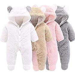Haokaini - Traje de Nieve cálido para bebé Oso, Mono de Mameluco con Capucha de Felpa de algodón para niñas niño (3-6 Meses, Rosado)