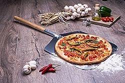 Culinario Alu Pizzaschaufel mit Holzgriff, Pizzaheber aus Aluminium, 35,5 x 30,5 cm, Stiellänge: 43 cm