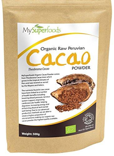 Foto de Polvo de Cacao Orgánico (500 gramos)   MySuperFoods   Delicioso y bueno para usted   Rico en micronutrientes   Orgánico certificado   Antigua comida de salud maya   Ideal para dulces y golosinas