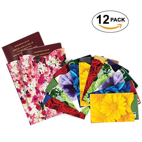 [12-Packung] RFID Blocking Hüllen - Designer Set, für Kreditkarte & ID Schützhüllen, ideal für im Portemonnaie / Passschutzhülle - Voller Schutz RFID & NFC - Wunderschöne Blumen - Bild 2