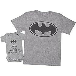 du Calme Mon Papa est Un Super-héros Batman - Ensemble Père Bébé Cadeau - Hommes T-Shirt & Body bébé - Gris - L & 0-3 Mois