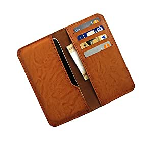 i-KitPit : PU Leather Wallet Flip Pouch Case For Lava iris 351 (BROWN)